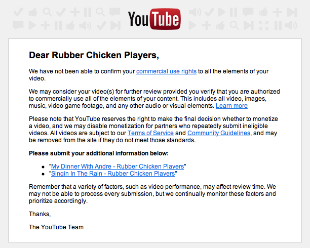 youtube notice